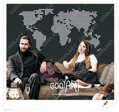 COOLART Duvar Sticker Dünya Haritası Daireler GittiGidiyor'da 110129928