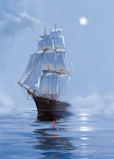 """Photo from album """"James Brereton. Парусники"""" on Yandex. Ship Paintings, Landscape Paintings, Old Sailing Ships, Nautical Art, Ship Art, Tall Ships, Lighthouse, Pictures, Sailboats"""