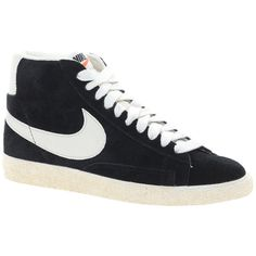 Nike Blazer Mid Black Suede Sneakers ($119) ❤ liked on Polyvore