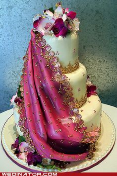 Beautiful sari wedding cake