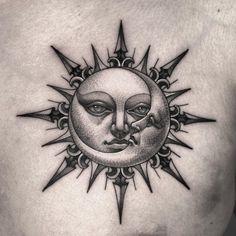 Luna Tattoo, Sun Tattoo Tribal, Sun Tattoo Small, Moon Sun Tattoo, Small Tattoos, Sun Moon, Dope Tattoos, Body Art Tattoos, Hand Tattoos