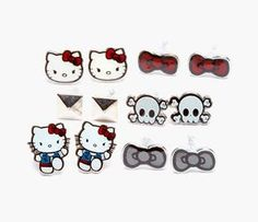 This edgy set of Hello Kitty earrings comes with 6 different designs so you can mix and match them with any outfit. We love Loungefly!  See details and safety message.