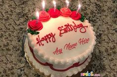 Lovely Chocolate Birthday Cake With Name Happy Birthday Cake Writing, Happy Birthday Cake Photo, Happy Birthday Woman, Half Birthday Cakes, Birthday Cake With Candles, 19th Birthday, Cake Name Edit, Beautiful Birthday Cake Images, Cute Cakes