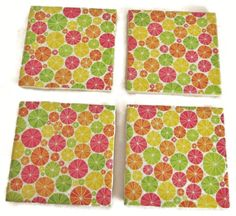 Ceramic tile coasters with citrus fruit slices design in red, green, orange and yellow citrus fruit colors. Great gifts for all occasions.