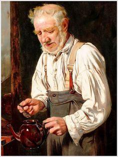 Charles Spencelayh (British, 1865-1958) «Making The Tea»