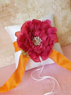 Dupioni Silk Peony Wedding Ring Pillow Hot by creations4brides, $44.00