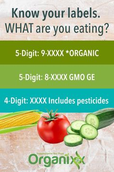 GROCERY STORE: You know those numbers on the tags on fruits and vegetables? Here is what they mean... Please click on the image above and sign up to learn more about healthier eating and health hacks. || check the labels | what is in food | Non GMO foods | healthy eating tips | healthy eating | tips for healthy eating || #organixx