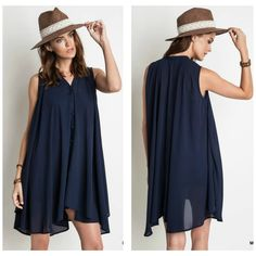 Navy Shift button down dress