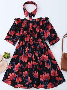 Floral Off Shoulder Dress With Shirt Collar - BLACK S