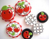 Button Black Cherry Check handmade polymer clay button set  ( 7 )