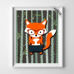 Animal Nursery Print, Woodland Fox, Fox Art, Wall Art, Animal Nursery Decor, Hipster Fox, Baby Room Print, Giclee, Christmas Gift. Wall Art. PRICES FROM $9.95. CLICK PHOTO FOR DETAILS.#inkistprints #giftforher #homedecor #nursery #kidsroomdecor #wallart #walldecor #poster #print #christmas #christmasgift #weddinggift #nurserydecor #mothersdaygift #fathersdaygift #babygift #valentinesdaygift #dorm #decor #livingroom #bedroom