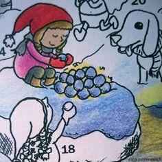 Neljästoista luukku - Tarinatädin joulukalenterivärityskuva