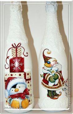 Декор предметов Новый год Декупаж Я к Вам с бутылкой  Бутылки стеклянные Краска Ленты фото 6