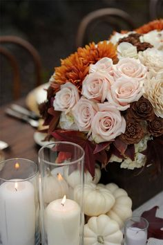 sublime colour palette for Thanksgiving table setting, white pumpkins, blush pink, orange and brown