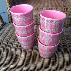 Vintage Pink Plaid Raffia Ware Melamine Set of 6 Cups  Time to throw a tiki party! This set of 6 is in excellent condition and would make a great