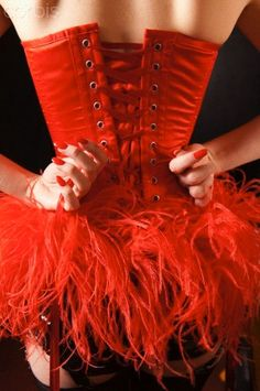 Red corsets Ribbon and Boas . that's Burlesque ; Corsets, Pin Up, Red Corset, Burlesque Costumes, Burlesque Clothing, Red Feather, Feather Skirt, Cabaret, Red Fashion