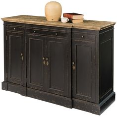 French Black Distressed High Sideboard - French Country