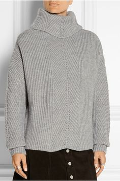 Maje | Matignon oversized ribbed-knit turtleneck sweater | NET-A-PORTER.COM