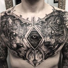 Awesome chest piece by Tattoo Artist Fredão Oliveira ##Tattoos - psyk02mikmak07 - Google+