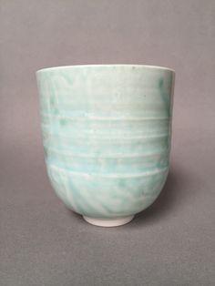 Lynda-Anne Raubenheimer - porcelain vessel with throwing lines in my favorite glaze, gifted to a Joan 11 Feb 2016