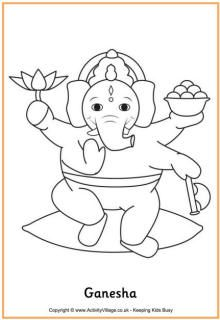 Here's a coloring page of Ganesha, or Lord Ganesh, one of the Hindu deities. He is the elephant-headed god of wisdom, education and success, and is worshiped at Diwali. Diwali Party, Diwali Diy, Diwali Craft, Diwali For Kids, India For Kids, Drawing For Kids, Art For Kids, Crafts For Kids, Hindu Festivals