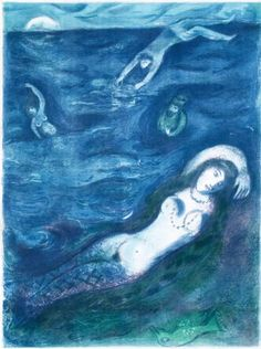 Marc Chagall (1887-1985), 1948, So I came forth of the Sea and sat down... (Four Tales from the Arabian Nights, M.40), awarded by the Venice Biennial's graphic prize.