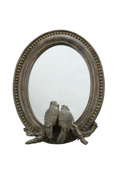 """Resin framed mirror with birds at the bottom.    Measures: 7.25"""" x 9.25""""   Mirror With Birds by ReCreateU. Home & Gifts New York City"""