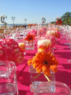 orange and pink | Tropical colors at this Ca D'Zan Wedding Reception –
