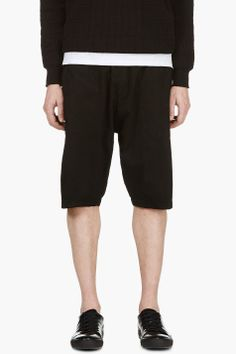 Silent By Damir Doma Black Angled Seams Shorts for men | SSENSE