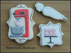 Bakerloo Station:  Mixer, piping bag, & Cake on a stand.
