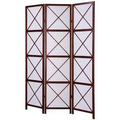 Walnut 3 Panel Screen Room Divider 71 in H x 51 in W x 2 in D Separate Rooms New #NotApplicable #Contemporary