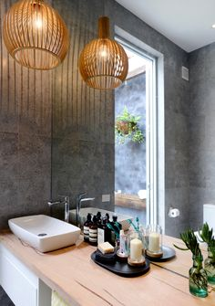 Chandelier Lighting In Bathroomexcited in transforming your bathroom into a relaxing vent behind updated amenities and pr The Block Bathroom, Laundry In Bathroom, Laundry Decor, Family Bathroom, Master Bathroom, Bathroom Pendant Lighting, Pendant Light Fixtures, Pendant Lights, Chandelier Lighting