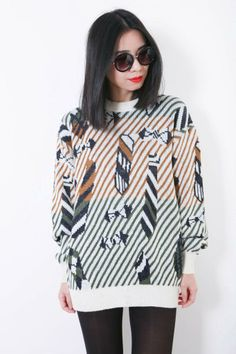 Vintage Knitted Jumper | Ezzentric Topz | View more: www.ezzentrictopz.com |#VintageJumper #Geometric #VIntageclothing