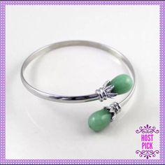HPBeautiful Green Jade Silver Cuff Bracelet HOST PICK - OFFICE STYLE PARTY - 6/13/2016 - CHOSEN BY: @DINOFINDER☘LAST ONE AVAILABLE☘BEAUTIFUL Green Jade Silver Bangle Cuff Bracelet, Silver Alloy, somewhat adjustable to fit most size wrists. This bracelet is gorgeous on the wrist☘PRICE IS FIRM UNLESS BUNDLED☘ Boutique Jewelry Bracelets