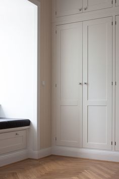 no toe-kick, built-in style cabinetry Wardrobe Storage Cabinet, Bedroom Cabinets, Custom Kitchens, Built In Wardrobe, Built In Storage, House And Home Magazine, White Bedroom, Cabinet Design, Room Decor Bedroom