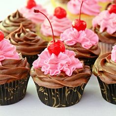 Chocolate Chip Cherry Cupcakes--These cupcakes are flavored with chocolate chips, maraschino cherries, vanilla and almond extract.  It's a great combination.  I made two kinds of frosting to go with the cupcakes. #cupcakes #cupcakeideas #cupcakerecipes #food #yummy #sweet #delicious #cupcake