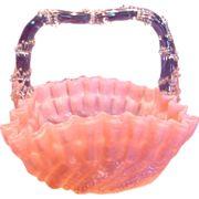 English Art Glass Flower Basket Pale Pink w Clear Overshot Briar Thorn Handle c 1880