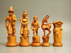 Chess set ca. middle of the 20th century. From Austria, made of wood.