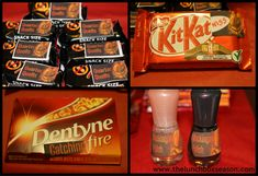 Hunger Games Catching Fire Party Favours for your Loot Bag :  KitKat becomes KitKatniss, Dentyne Catching Fire Gum, Quarter Quells [Mars Bars] and Mockingjay Polish  - Free Printables on the Blog!