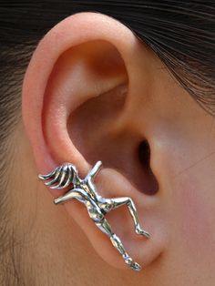 Climbing Man Ear Cuff Clip On Punk Rock Fashion Silver Girls Men Women Free P/&P