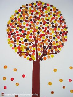 """Read """"Leaves Fall Down"""" by Lisa Marie Bullard and """"Red Leaf, Yellow Leaf"""" or """"Leaf Man"""" both by Lois Elhert then have kids create these beautiful Q TIp Fall Trees  source: Imperfectly Perfect Blog"""