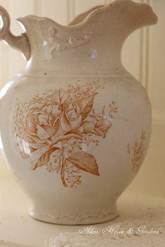 An antique transferware pitcher.