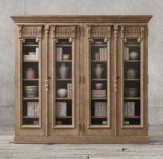 19th C. French Carved Door Glass 4-Door Cabinet