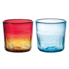 琉球ガラス 手作りどっしりグラスペア(レッド・ブルー)