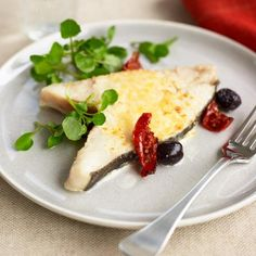Mother's Day Recipes: Baked Mediterranean Halibut - See more recipes like this at goodhousekeeping.co.uk