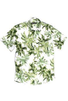 Camisa Florida masculina manga curta branca  529f6af8232