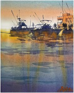 """Sunrise at the Docks - Cabo San Lucas"" Thomas W Schaller - Watercolor 13x18 02 April 2015"