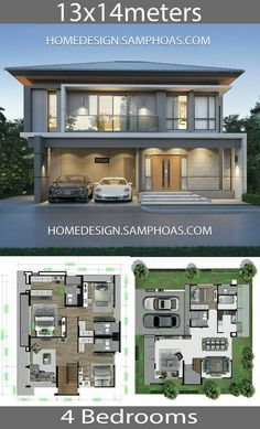 House design plans with 4 Bedrooms - Home Ideassearch Two Story House Design, 2 Storey House Design, Bungalow House Design, House Front Design, Cool House Designs, Modern House Design, Duplex House Plans, House Layout Plans, House Layouts