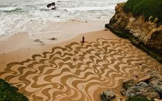 """San Francisco-area based landscape artist and explorer Andres Amador creates incredible large-scale sand drawings using only a rake and some help from volunteers.  """"My dream is to do my artwork in locations around the world and to bring more people into the creative act with me,"""" says the artist.  It's amazing how many hours are spent creating something so large yet absolutely impermanent as these beach drawings. Amador is also doing beach painting workshops, and according to his website the…"""