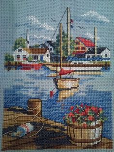 harbor Cross Stitch Love, Cross Stitch Needles, Cross Stitch Designs, Cross Stitch Patterns, Beaded Embroidery, Cross Stitch Embroidery, Hand Embroidery, Embroidery Designs, Cross Stitch Landscape